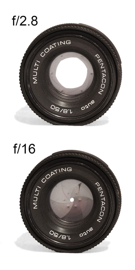 Diafragma con una abertura grande (f/2.8) y una apertura pequeña (f/16)   Autor https://commons.wikimedia.org/wiki/User:Mohylek
